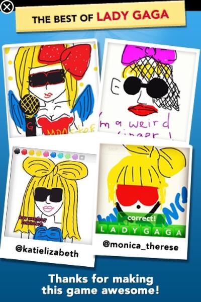 Die Lady Gaga tekeningen van DrawSomething zijn echt geniaal!