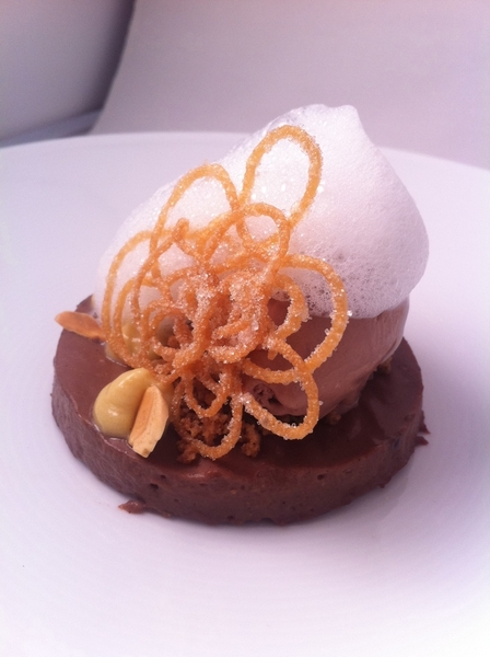 "New Topolo tasting:5th: champurrado dreams: chocolate tamal ""cake,"" champurrado ice cream, milk foam, churro lace"