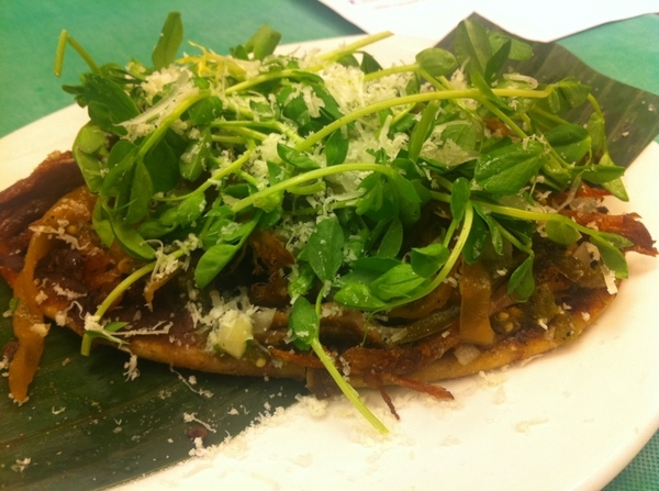 Tasting poss new menu 4 Frontera w Chef Richard: huaraches of carnitas,chiles toreados,bl beans, peashoots, cotija