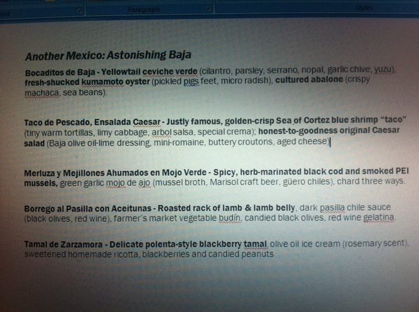 Just finishing copy 4 new Baja menu that starts Tuesday nite in Topolo. vry, very happy w/ how it's turning out