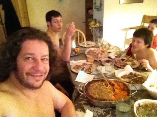 Shirtless Thanksgiving - a family tradition.