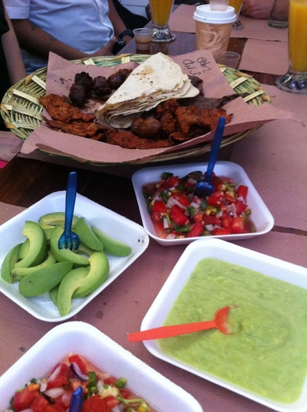 Oaxaca Mkt: grilled meat fast platter ready to make tacos w handmade tortillas, salsas. I LOVE THIS PLACE!!