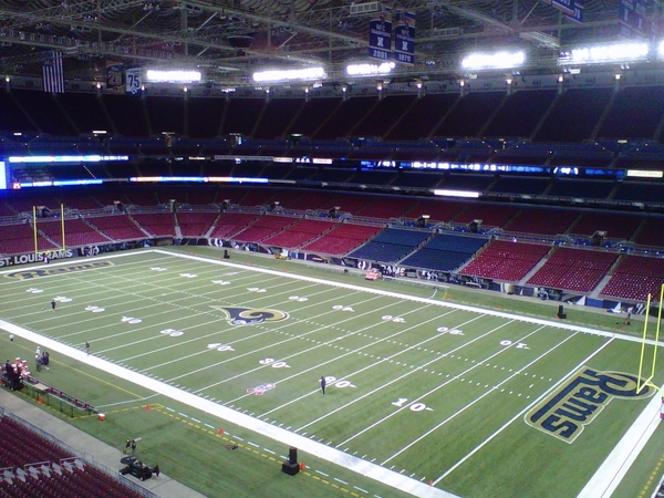 Welcome to an empty-for-now Edward Jones Dome, site of today's Seahawks-Rams game (10 am PDT, FOX)