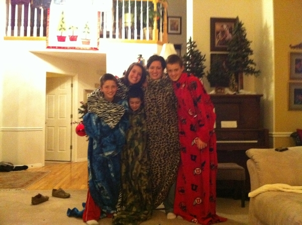 Christmas Snuggies all around the Goaslind home!!