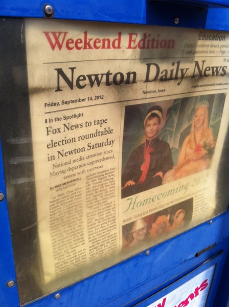 Our Jasper Co. special is front page news here in Newton, IA great people here.  Taping some 2day-we're live at 6p mon