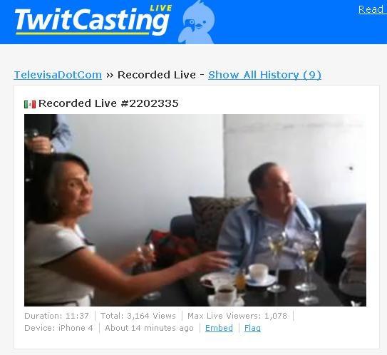 Captura de Televisa transmitiendo con Iphone 4 en vivo a Florinda Mesa y Chesperito