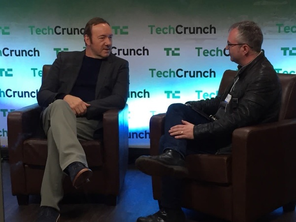 Really enjoyed meeting & interviewing Kevin Spacey at our #TCDavos event. #Davos #Davos2016