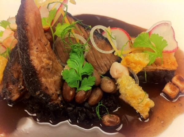 Yuc Menu#4: 4 kinds of pork: belly&shldr braised in bl bean-habanero broth,chicharrón, grilled loin,bl rice,xnipec