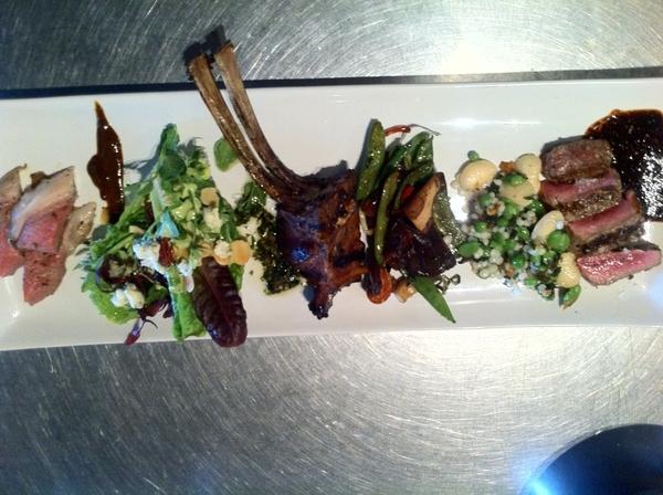 La Querencia: Chef Miguel Angel's dish of lamb 3 way, 3 influences of cuisine here: Asian, Mexican, Mediterranean