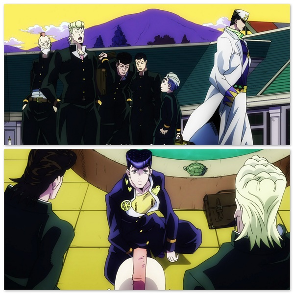 WTH?! They leave Koichi alone, but f*ck with the dude twice his size? Weird thugs. #anime
