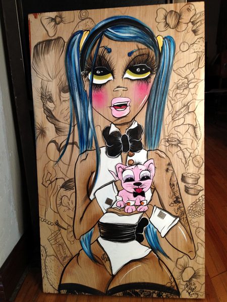 "Checkout this dope painting ""Bad Pussy"" we just got from @sandoner ❤ She's badass!!!"
