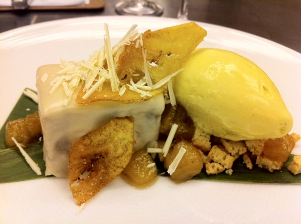 Pos new dessert for Topolo: roasted banana cake w wht choc btrcream,carm bananas,banana leaf ice cr, cookie crunch