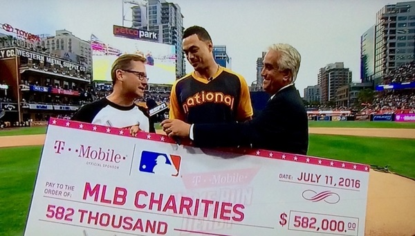 A @MLB $582K @BGCA_Clubs, youth baseball programs @TMobile donation after 61 HRs by @Giancarlo818 on @espn. #HRDerby