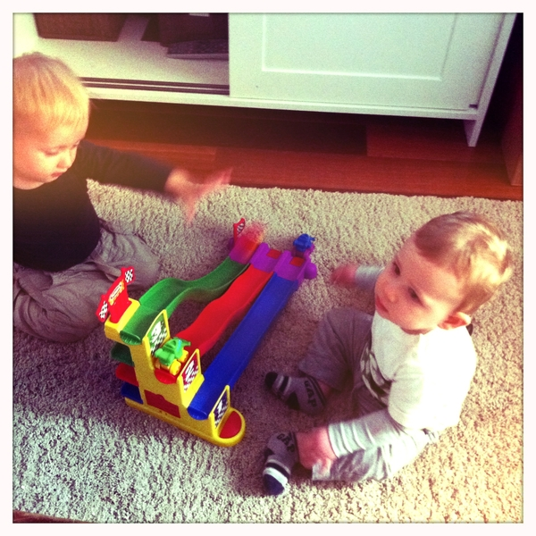 Fletcher of the day: playing cars with Mateo