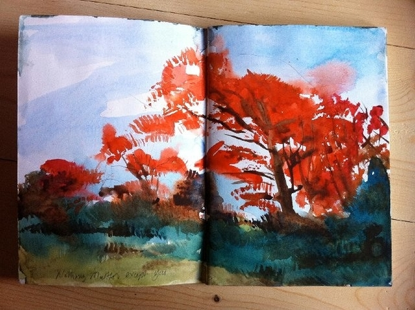 """""""Red Autumn Trees"""" watercolour in sketchbook"""