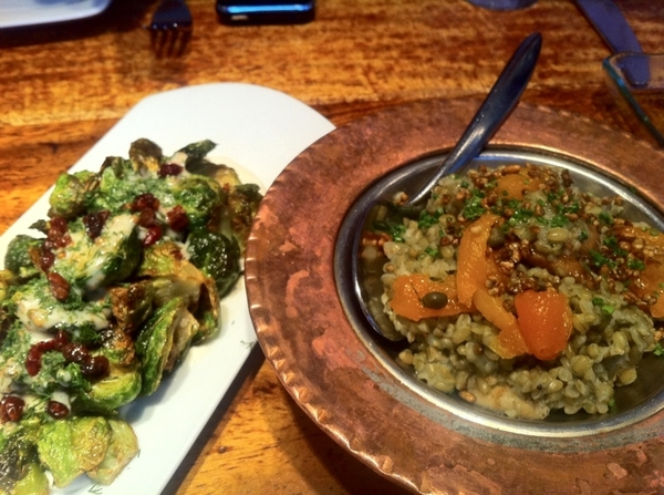 Zaytinia: accompaniments for lamb: caramelized Brussels spouts & green wheat grain dish with apricot