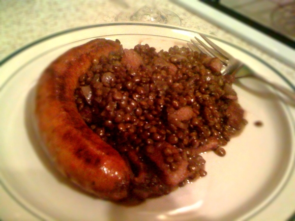 Plated up - Puy lentils and chorizo sausage.