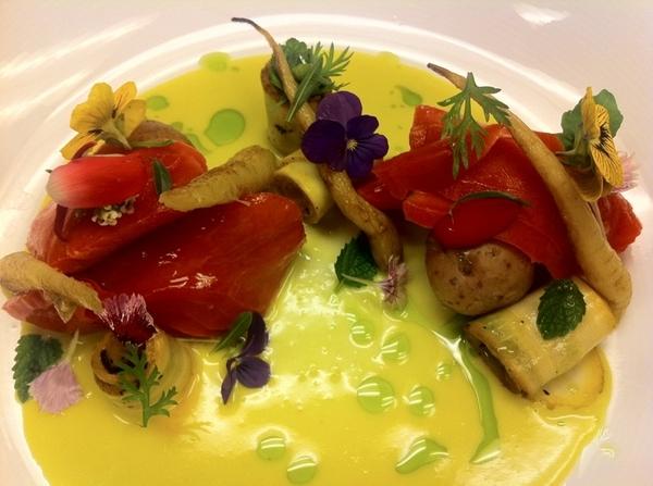 Testing poss new dishes 4 Topolo: sl-ckd salmon w herbs, flowers (sq bloss crema), frmrs Mkt veg