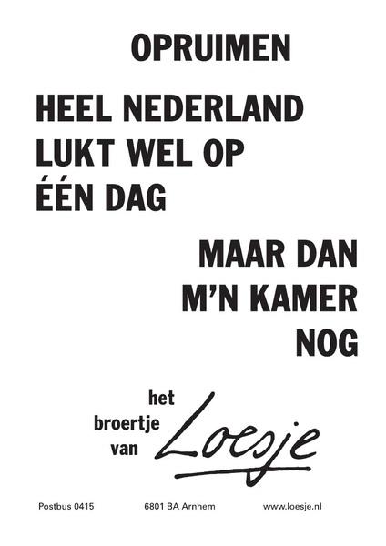 ** Opruimen ... heel Nederland lukt wel op 1 dag, maar dan m'n kamer nog ** Doe jij ook mee op 21-9? http://bit.ly/zNppEa  #kicd #loesje