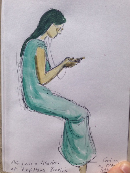 """Not quite a libation from Amfitheas Station"". A Girl on a Tram, Athens. Watercolour and Pen."