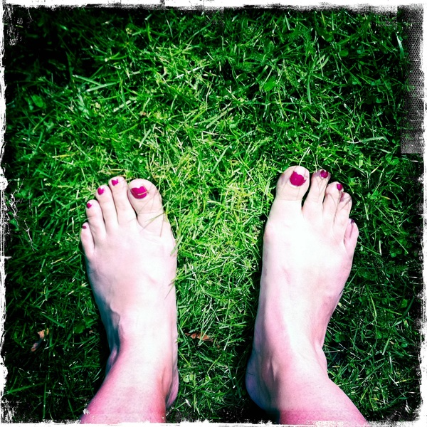 I love the feeling of walking barefoot through the grass