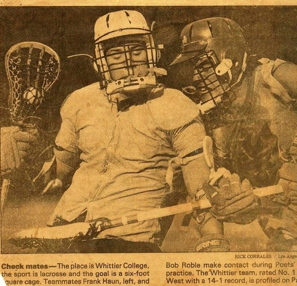 A 1985 @latimessports photo of Frank Haun and @THESportsTechie playing lacrosse @WhittierCollege.