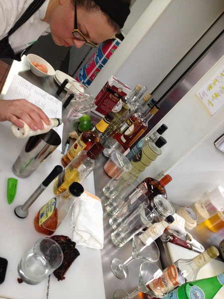 Shaw doing final testing for r NEW book on margs/guacs/snacks. Out in the fall