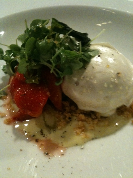 Frontera Farmer Foundatn Dinner: the last plate goes down: floating island w peppercorn natilla, Klug strawberries