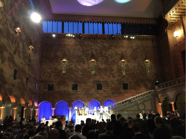 Startups & VCs filling the Blue Hall in Stockholm, where Nobel Prizes are given. #STHLMTech