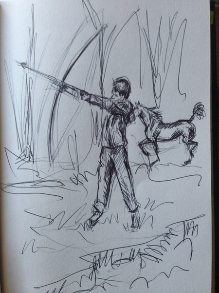 """The Young Archer"", black biro drawing in sketchbook"