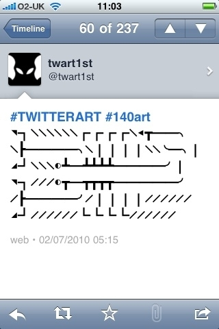 @twart1st Sadly, your art tweets look really weird on the iphone. *screensnap attached*