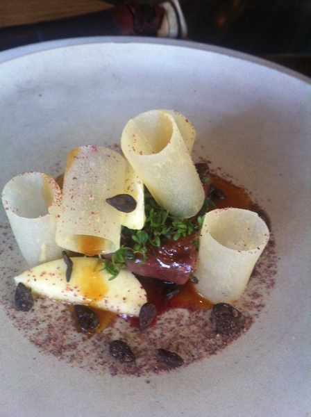 Noma standout#4: wild duck raw & butter-compressed apples, söl seaweed powder.