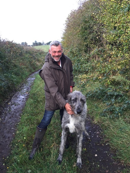 Trying to do some training with Thor on the lead.Our other pup Cian would not even leave his kennel! #irishwolfhounds