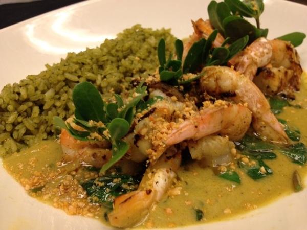 New Frontera menu tasting: grld shrimp w green peanut pipián, verdolagas 2 ways, green herb rice