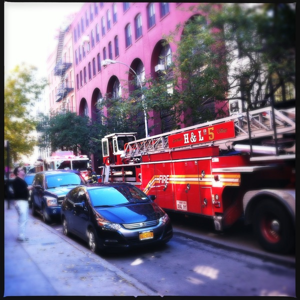 Three fire engines down the street! Fletcher was in heaven!