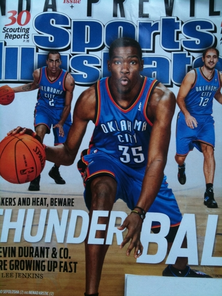 @KDthunderup Good thoughts for Thunderball from Seattle! (pic by SI.com) #NBA #KD