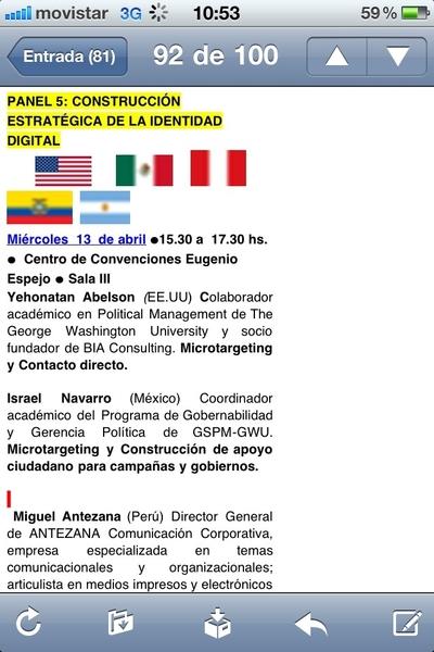 Gracias la invitación de @ciespal a moderar panel Construcción Estratégica de la Identidad Digital @cumbre2011