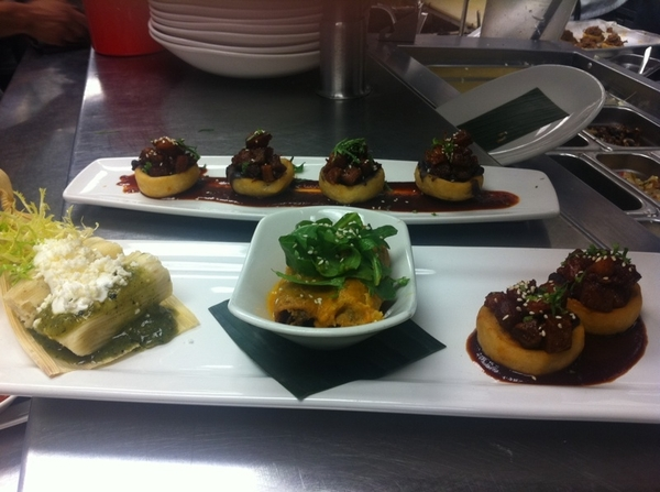 In LA 4 1st anniv of Red O: kudos 2 chefs Armando&Efren ! pic: duck taquitos, goat chs tamal, pork belly sopes