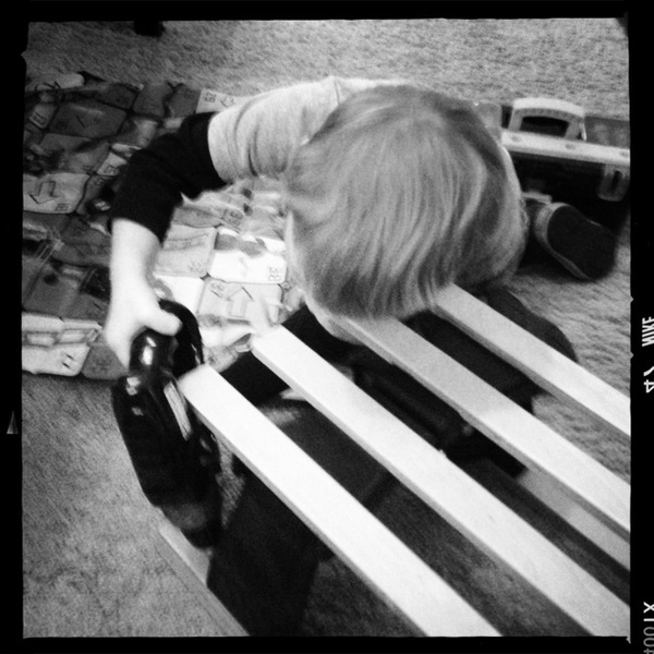 When I got the sled out, Fletcher pulled out his toolbox to 'help Mama'
