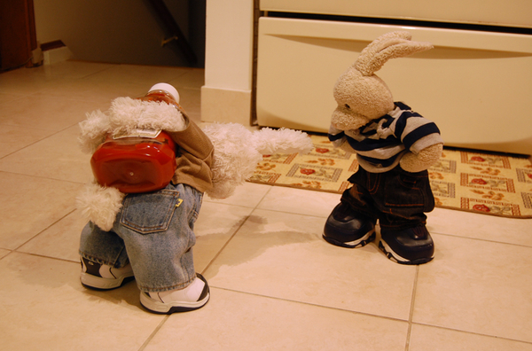 Rufus: I... *huff* got .. *gasp* the .. ketchup!! *groan*  Zackary: what took u so long?!! #cookinwifrabbits #cooking