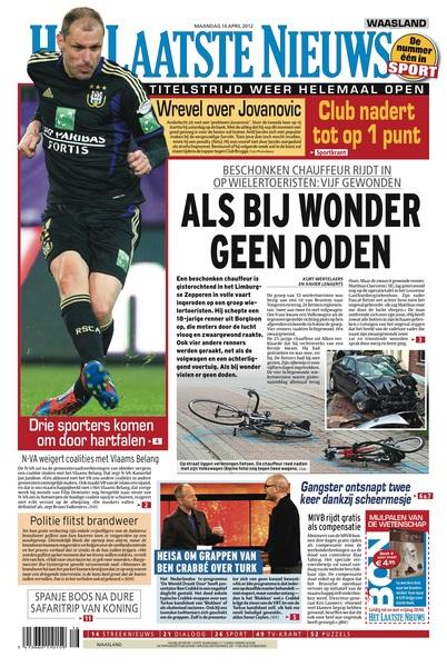 #HetLaatsteNieuws 16 april 2012, de voorpagina: Limburgse Zepperen - ALS BIJ WONDER GEEN DODEN