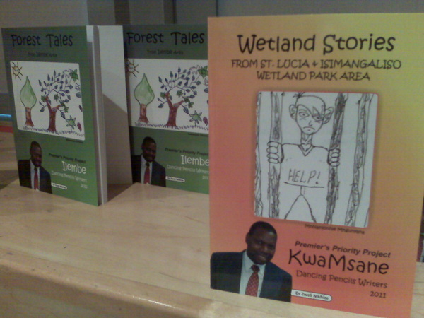 Some of the books produced by Msinga Dancing Pencils writers (school kids in KZN) and published by http://www.umsinsi.com/ #ctbf