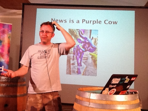 Energetic presentation on dealing with press by  @mikebutcher at #build06 #HackFwd