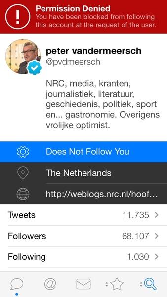 En ik doe mijn beklag maar bij @nrcombudsman, want hoofdredacteur @pvdmeersch blokt zijn eigen abonnee's.