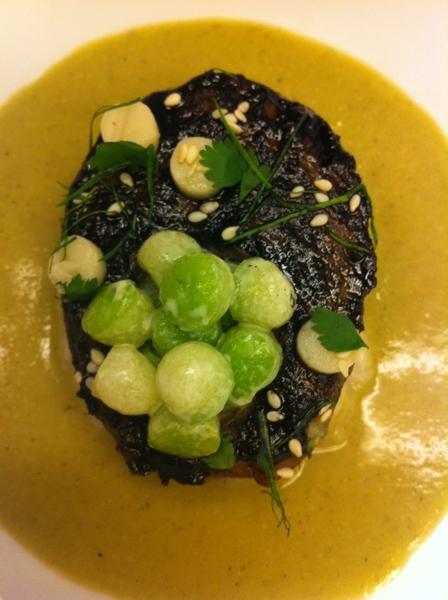 Tasting poss Topolo menu: jasmine-infused, slow-grilled chayote w sesame pipian, polenta-style tamal,chayote salad