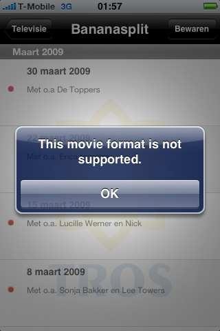 """Wil ik lekker naar Bananasplit via Tros Gemist kijken: """"This movie format is not supported""""!"""