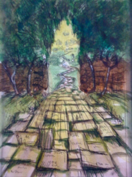 """""""The Path"""" watercolour and ink"""