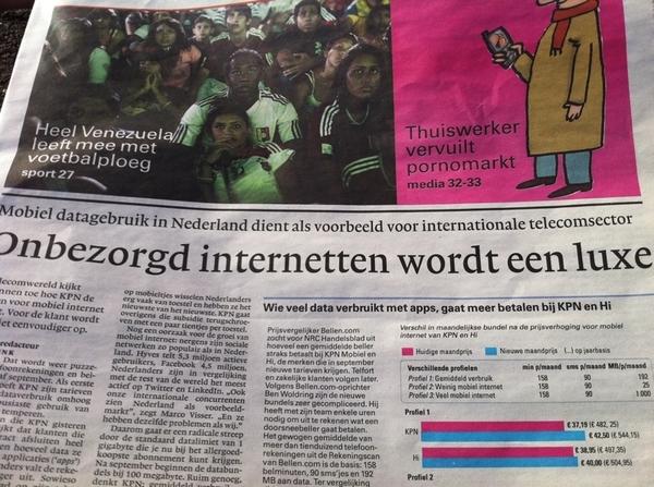@miesvw mobiel datagebruik in NL dient als voorbeeld voor internationale telecomsector.