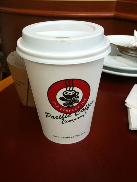 Having a cup of Yunnan coffee at pacific coffee