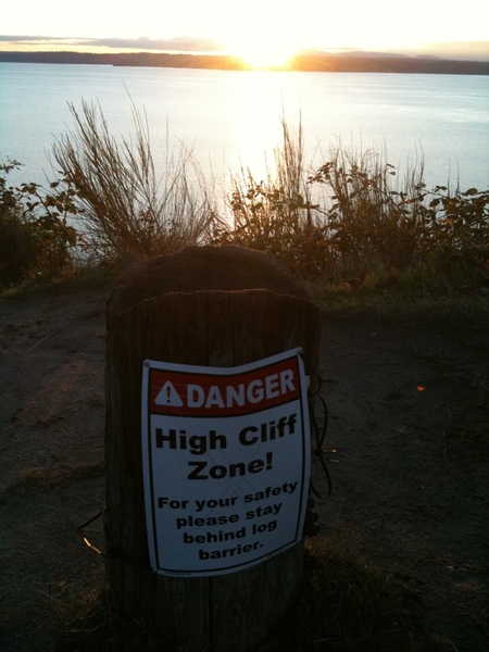 Danger: High Cliff Zone Sunset! #Seattle #OlympicMts